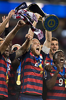 Santa Clara, CA - Wednesday July 26, 2017: Michael Bradley and the U.S. Men's national team celebrate winning the 2017 Gold Cup Championship by defeating Jamaica 2-1 in the Final during the 2017 Gold Cup Final Championship match between the men's national teams of the United States (USA) and Jamaica (JAM) at Levi's Stadium.