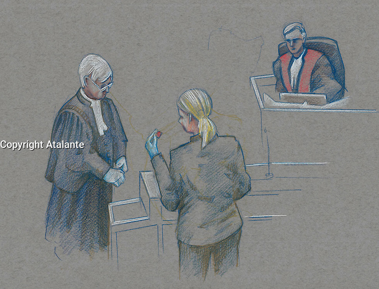 FILE IMAGE - Luka Magnotta comparution at Montreal Justice Hall, October 1st, 2014.<br /> <br /> Luka Rocco Magnotta is a Canadian former pornographic actor and model who killed and dismembered Lin Jun, a Chinese international student, then mailed his limbs to elementary schools and federal political party offices.<br /> <br /> Drawing : Agence Quebec Presse - Atalante