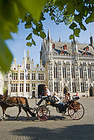 Belgium, Bruges, City Hall on the Burg, Town Hall Square, with Horse-drawn Carriage