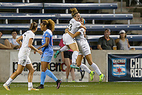 Chicago, IL - Wednesday Sept. 07, 2016: Frances Silva, Shea Groom celebrates scoring during a regular season National Women's Soccer League (NWSL) match between the Chicago Red Stars and FC Kansas City at Toyota Park.