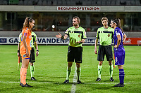 Gent's defender Silke Vanwynsberghe (21) , assistant referee Jordan Vandenborre , referee Anthony Letellier , assistant referee Alexandre Minnoy , Anderlecht defender Laura De Neve (8) pictured during a female soccer game between RSC Anderlecht Dames and AA Gent Ladies on the seventh matchday of the 2020 - 2021 season of Belgian Womens Super League , friday 13 th of November 2020  in Overijse , Belgium . PHOTO SPORTPIX.BE | SPP | STIJN AUDOOREN