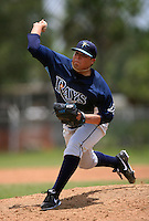 GCL Rays pitcher Mike Franco (10) delivers a pitch during a game against the GCL Twins on July 2, 2014 at Lee County Sports Complex in Fort Myers, Florida.  GCL Rays defeated the GCL Twins 4-3.  (Greg Wagner/Four Seam Images)