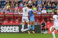 Bridgeview, IL - Sunday August 20, 2017: Becky Sauerbrunn, Yuki Nagasato during a regular season National Women's Soccer League (NWSL) match between the Chicago Red Stars and FC Kansas City at Toyota Park. KC Kansas City won 3-1.