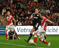 20131009 - LIEGE , BELGIUM :  Standard's Vanity Lewerissa (right) pictured scoring the 1-0 for Standard during the female soccer match between STANDARD Femina de Liege and GLASGOW City LFC , in the 1/16 final ( round of 32 ) first leg in the UEFA Women's Champions League 2013 in stade Maurice Dufrasne - Sclessin in Liege. Wednesday 9 October 2013. PHOTO DAVID CATRY