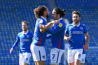Ryan Williams of Portsmouth (7) is congratulated by Marcus Harness of Portsmouth after scoring the first goal during Portsmouth vs Rochdale, Sky Bet EFL League 1 Football at Fratton Park on 2nd April 2021
