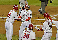 12 October 2012: Washington Nationals third baseman Ryan Zimmerman celebrates hitting a 2-RBI homer in the first inning of Postseason Playoff Game 5 of the National League Divisional Series against the St. Louis Cardinals at Nationals Park in Washington, DC. The Cardinals stunned the home team with a four-run rally in the 9th inning to defeat the Nationals 9-7 and win the NLDS, moving on to the NL Championship Series. Mandatory Credit: Ed Wolfstein Photo