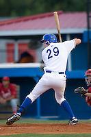 Burlington first baseman Brett Amyx (29) at bat versus Johnson City at Burlington Athletic Park in Burlington, NC, Saturday, August 25, 2007.