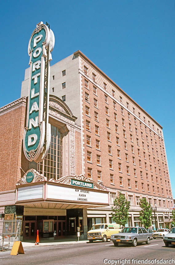 Portland: The Portland Movie House, now the Arlene Schnitzer Concert Hall. Houses the Portland Symphony, etc. Built 1927, seating 2800. Opened Sept. '84. Broadway.