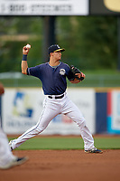 Lake County Captains shortstop Luke Wakamatsu (12) throws to first base during the second game of a doubleheader against the West Michigan Whitecaps on August 6, 2017 at Classic Park in Eastlake, Ohio.  West Michigan defeated Lake County 9-0.  (Mike Janes/Four Seam Images)