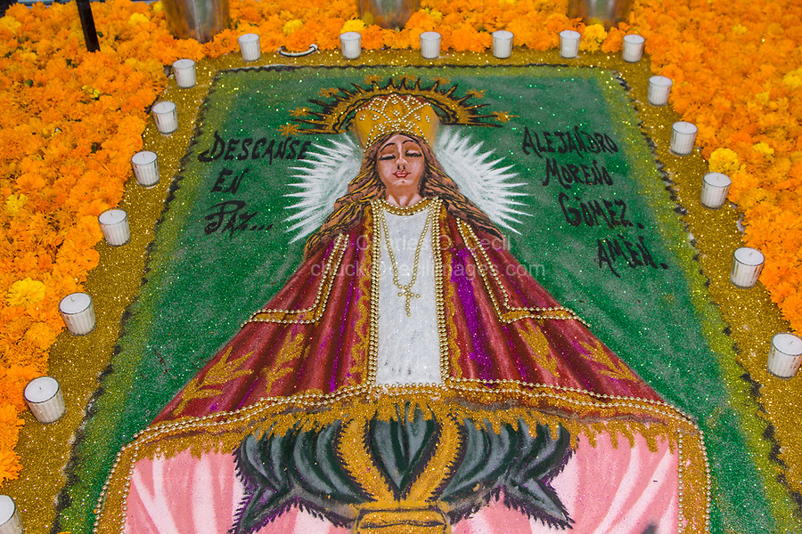 """Oaxaca, Mexico, North America.  Day of the Dead Celebrations.  Sand Painting, Grave Decoration in Memory of the Dead.  (""""Rest in Peace.  Alejandro Moreno Gomez.  Amen."""")  San Miguel Cemetery, Oaxaca."""