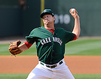 Pitcher Brian Johnson (28) of the Greenville Drive pitches in his debut against the Charleston RiverDogs on Sunday, April 7, 2013, at Fluor Field at the West End in Greenville, South Carolina. Johnson was selected by the Boston Red Sox in the 1st Round (31st overall) in the 2012 First-Year Player Draft out of the University of Florida. Charleston won, 5-0. Johnson is the No. 15 prospect for the Boston Red Sox, according to Baseball America. (Tom Priddy/Four Seam Images)