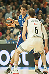 Real Madrid´s Andres Nocioni and Anadolu Efes´s Dario Saric during 2014-15 Euroleague Basketball match between Real Madrid and Anadolu Efes at Palacio de los Deportes stadium in Madrid, Spain. December 18, 2014. (ALTERPHOTOS/Luis Fernandez)