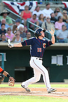 Brett Phillips #15 of the Lancaster JetHawks bats against the Inland Empire 66ers during a playoff game at The Hanger on September 7, 2014 in Lancaster, California. Lancaster defeated Inland Empire, 5-2. (Larry Goren/Four Seam Images)