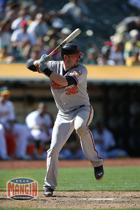 OAKLAND, CA - APRIL 28:  Matt Wieters #32 of the Baltimore Orioles bats during the game against the Oakland Athletics on Sunday, April 28, 2013 at The O.co Coliseum in Oakland, California. Photo by Brad Mangin