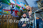 Artist ADW and his assistant  Darren Warren spraying their finishing touchs to the murel that painted in the Glebe car park on Saturday