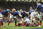 french scrum half Jean-Marc Doussain spins the ball out of the breakdown.<br /> RBS 6 Nations 2014<br /> Wales v France<br /> Millennium Stadium<br /> 21.02.14<br /> <br /> ©Steve Pope-SPORTINGWALES