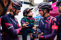 Picture by Alex Whitehead/SWpix.com - 17/06/2018 - Cycling - 2018 OVO Energy Women's Tour - Stage 5, Dolgellau to Colwyn Bay - Kasia Niewiadoma and Alena Amialiusik of Canyon SRAM with young fan.