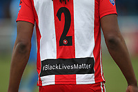 Black Lives Matter logo on the Clapton shirts during Redbridge vs Clapton, Len Cordell Memorial Cup Football at Oakside Stadium on 10th April 2021