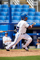 Dunedin Blue Jays shortstop Ivan Castillo (1) follows through on a swing during a game against the Lakeland Flying Tigers on May 27, 2018 at Dunedin Stadium in Dunedin, Florida.  Lakeland defeated Dunedin 2-1.  (Mike Janes/Four Seam Images)