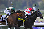 Nov. 03, 2012 - Arcadia, California, U.S - Fort Larned ridden by Brian Hernandez and trained by Ian Wilkes, leads Mucho Macho Man down the stretch to win the Breeders' Cup Classic at Santa Anita Park in Arcadia, CA. (Credit Image: © Jimmy Jones/Eclipse/ZUMAPRESS.com)