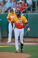 Jo Adell (26) walks to the plate for his first plate appearance as a Salt Lake Bee against the Oklahoma City Dodgers at Smith's Ballpark on August 1, 2019 in Salt Lake City, Utah. The Bees defeated the Dodgers 14-4. (Stephen Smith/Four Seam Images)