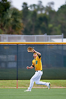 North Dakota State Bison right fielder Jayse McLean (24) during warmups before a game against the Central Connecticut State Blue Devils on February 23, 2018 at North Charlotte Regional Park in Port Charlotte, Florida.  North Dakota State defeated Connecticut State 2-0.  (Mike Janes/Four Seam Images)