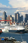 Seattle, Cruise ships bound for Alaska, Inside Passage, Port of Seattle, waterfront, Elliot Bay, Puget Sound,