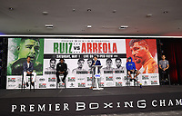LOS ANGELES, CA - APRIL 29: (L-R) Eduardo Ramirez, Erislandy Lara, Ray Flores, Thomas LaManna, and Isaac Avelar attend the undercard press conference for the Andy Ruiz Jr. vs Chris Arreola Fox Sports PBC Pay-Per-View in Los Angeles, California on April 29, 2021. The PPV fight is on May 1, 2021 at Dignity Health Sports Park in Carson, CA. (Photo by Frank Micelotta/Fox Sports/PictureGroup)