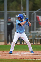 Indiana State Sycamores Brandt Nowaskie (16) bats during a game against the Dartmouth Big Green on February 21, 2020 at North Charlotte Regional Park in Port Charlotte, Florida.  Indiana State defeated Dartmouth 1-0.  (Mike Janes/Four Seam Images)
