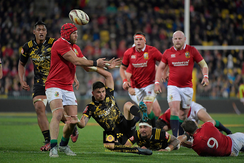 Hurricanes' Otere Black in action during the New Zealand Lions Series - Hurricanes v British and Irish Lions at Westpac Stadium, Wellington, New Zealand on Tuesday 27 June 2017.<br /> Photo by Masanori Udagawa<br /> www.photowellington.photoshelter.com.