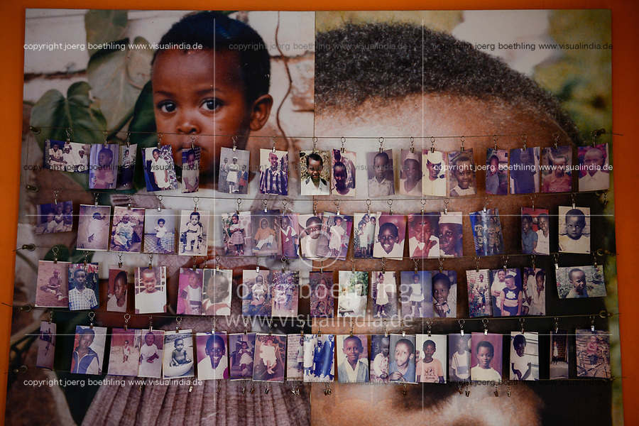 RWANDA, Kigali, Kigali Genocide Memorial , a museum and memorial to remember the genocide of 1994 where about 1 million Tutsi were murdered by Hutu, family images of murdered Tutsi children / RUANDA, Kigali, Voelkermorddenkmal, Museum, Denkmal und Ruhestaette fuer 250.000 Opfer des Genozids an der Tutsi Bevoelkerungsgruppe im Jahr 1994, Kigali Genocide Memorial, Familienfotos ermordeter Tutsi Kinder