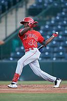 Julio De La Cruz (44), of the AZL Angels, at bat during an Arizona League game against the AZL Padres 1 on August 5, 2019 at Tempe Diablo Stadium in Tempe, Arizona. AZL Padres 1 defeated the AZL Angels 5-0. (Zachary Lucy/Four Seam Images)