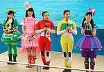 """April 26, 2017, Yokohama, Japan - Members of Japanese girls only pop group """"Momoiro Clover Z"""" (MCZ) smile as they join the attraction at the aquarium of the Hakkeijima Sea Paradise in Yokohama, suburban Tokyo on Wednesday, April 26, 2017. The aquarium will start the new attraction with sea aninals featuring a MCZ's TV program for children from April 28.   (Photo by Yoshio Tsunoda/AFLO) LwX -ytd-"""