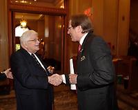 Paul Gerin-Lajoie , Albert Millaire, le 9 octobre 2007 au cocktail du<br /> Gala des Grands Montrealais a l'Hotel de Ville de Montreal<br /> <br /> photo : Agence Quebec Presse<br />  - Pierre Roussel