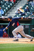 Toledo Mudhens Miguel Gonzalez (13) bats during a game against the Buffalo Bisons on May 18, 2016 at Coca-Cola Field in Buffalo, New York.  Buffalo defeated Toledo 7-5.  (Mike Janes/Four Seam Images)