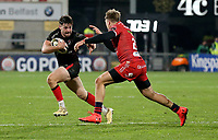 Sunday 22nd November 2020 | Ulster vs Scarlets<br /> <br /> Kieran Treadwell is tackled by Tyler Morgan during the Guinness PRO14 Round 7 clash between Ulster Rugby and Scarlets at Kingspan Stadium, Ravenhill Park, Belfast, Northern Ireland. Photo by John Dickson / Dicksondigital