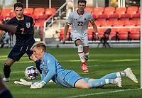 WASHINGTON, DC - SEPTEMBER 6: Maryland goalkeeper Niklas Neumann (36) picks up a rebound during a game between University of Virginia and University of maryland at Audi Field on September 6, 2021 in Washington, DC.