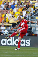3 JULY 2010:  C.J. Brown of Chicago Fire (2) during MLS soccer game between Chicago Fire vs Columbus Crew at Crew Stadium in Columbus, Ohio on July 3, 2010.