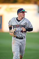Mahoning Valley Scrappers center fielder Austen Wade (40) jogs to the dugout during a game against the Williamsport Crosscutters on July 8, 2017 at BB&T Ballpark at Historic Bowman Field in Williamsport, Pennsylvania.  Williamsport defeated Mahoning Valley 6-1.  (Mike Janes/Four Seam Images)