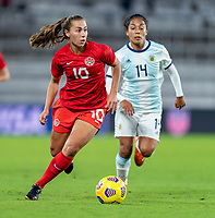 ORLANDO, FL - FEBRUARY 21: Sarah Stratagakis #10 of Canada dribbles during a game between Canada and Argentina at Exploria Stadium on February 21, 2021 in Orlando, Florida.