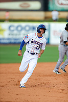 Tennessee Smokies first baseman Jared Young (13) hustles to third base against the Rocket City Trash Pandas at Smokies Stadium on July 2, 2021, in Kodak, Tennessee. (Danny Parker/Four Seam Images)