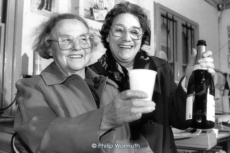 Olive David and Joan Batten, tenants on Westminster Council's Walterton Estate, in North Paddington, London, celebrate victory in the residents' ballot over transfer of estate ownership from the council to WECH, a resident-controlled housing association.