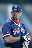 Jason Varitek of the Boston Red Sox before a 2002 MLB season game against the Los Angeles Angels at Angel Stadium, in Anaheim, California. (Larry Goren/Four Seam Images)