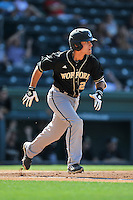 Third baseman Max McDougall (26) of the Wofford Terriers in a SoCon Tournament game against Western Carolina on Wednesday, May 25, 2016, at Fluor Field at the West End in Greenville, South Carolina. Western won, 10-9. (Tom Priddy/Four Seam Images)