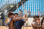 A Brazilian and a Mongolian archer shoot during practice at the International Indigenous Games, in the city of Palmas, Tocantins State, Brazil. Photo © Sue Cunningham, pictures@scphotographic.com 28th October 2015