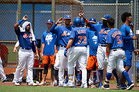 GCL Mets Nic Gaddis (73) high fives teammates after hitting a home run during a Gulf Coast League game against the GCL Marlins on August 11, 2019 at St. Lucie Sports Complex in St. Lucie, Florida.  GCL Marlins defeated the GCL Mets 3-2 in the second game of a doubleheader.  (Mike Janes/Four Seam Images)