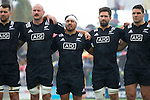 Hayden Triggs (L), Ash Dixon, Mitchell Crosswell, Ben May. Maori All Blacks vs. Fiji. Suva. MAB's won 27-26. July 11, 2015. Photo: Marc Weakley