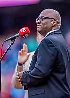 15 April 2018: Singer D.C. Washington prepares to sing the National Anthem prior to a game between the Washington Nationals and the Colorado Rockies at Nationals Park in Washington, DC. All MLB players and umpires wore Number 42 to commemorate the life of Jackie Robinson and to celebrate Black Heritage Day in pro baseball. The Rockies edged out the Nationals 6-5 to take the final game of their 4-game series. Mandatory Credit: Ed Wolfstein Photo *** RAW (NEF) Image File Available ***