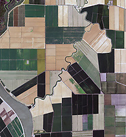 aerial photograph of farming levees and water channels in Solano county, California