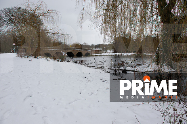 A general view of the meadow following snowfall at Foots Cray Meadow, Sidcup, Kent, England on the 9 February 2021. Photo by Alan Stanford.